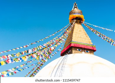 Swayambhunath or Monkey temple is an ancient religious architecture atop a hill in the Kathmandu Valley with a clear blue sky from Swayambhu, west of Kathmandu City, Nepal