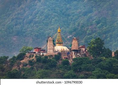 Swayambhunath stupa also called Monkey Temple in Kathmandu, Nepal