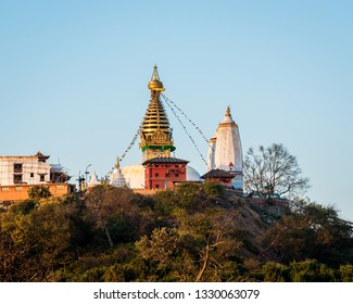 Swayambhunath stupa also called Monkey Temple in Kathmandu, Nepal.