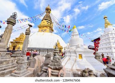 Swayambhunath Stupa on a Clear Day in the Kathmandu Valley, Nepal