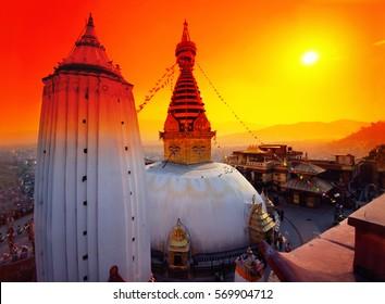 Swayambhunath Stupa in an orange filter. Katmandu