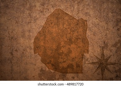 swaziland map on a old vintage crack paper background