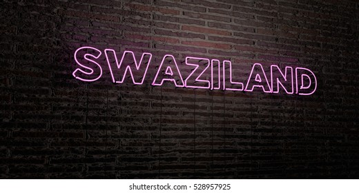 SWAZILAND -Realistic Neon Sign on Brick Wall background - 3D rendered royalty free stock image. Can be used for online banner ads and direct mailers.
