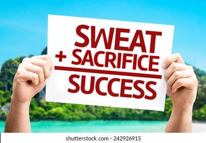 Sweat + Sacrifice = Success card with a beach on background