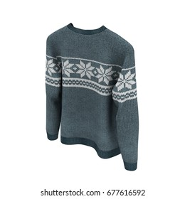 Sweater on white background. 3D illustration, Clipping Path