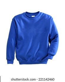 sweatshirts blue in sunny studio photo isolated on white