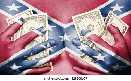 Sweaty girl covered her breast with money (dollars), confederate flag