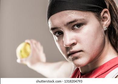 Sweaty Softball Pitcher