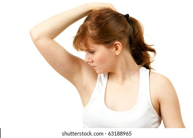 sweaty woman checking scent , or she does not stink
