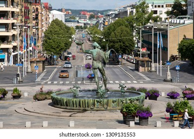 Göteborg, Sweden - 07/19/2017:     The iconic statue of Poseidon at Gotaplatsen in Goteborg, Sweden