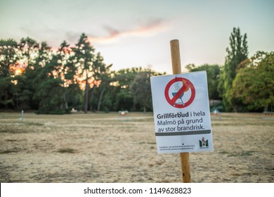 Malmö / Sweden - 08 02 2018: A sign warning people from barbecuing and stating the fire hazard that has caused wild fire problems in the rest of Sweden.
