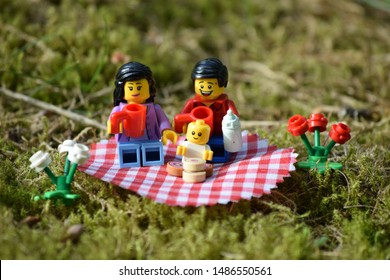Finspång Sweden 08/18 Lego minifigures, family picnic. Lego is a brand from Denmark.