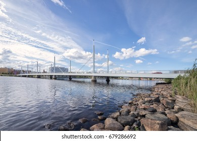 Jönköping, Sweden - 14 July, 2017: Munksjön Bridge, a modern bridge over lake Munksjön in Jönköping.