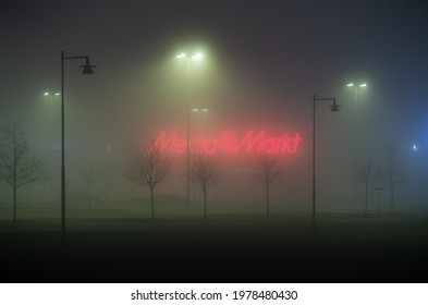 LINKÖPING, SWEDEN- 15 MARCH 2016:Media markt store in the fog. Media Markt is a German multinational chain of stores. Photo Jeppe Gustafsson