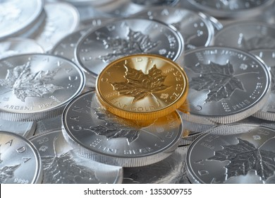 MALMÖ, SWEDEN, 24 MARCH, 2019: One troy ounce fine gold coin, on a stack of one troy ounce silver coins. Canadian maple coins