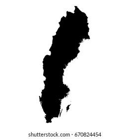 Sweden Black Silhouette Map Outline Isolated on White 3D Illustration