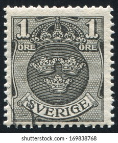 SWEDEN - CIRCA 1910: stamp printed by Sweden, shows Coat of arms, circa 1910