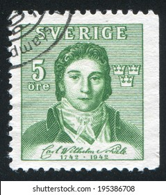SWEDEN - CIRCA 1942: stamp printed by Sweden, shows Karl Wilhelm Sheele, circa 1942