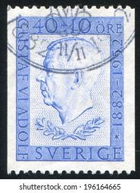 SWEDEN - CIRCA 1952: stamp printed by Sweden, shows Gustaf VI Adolf, circa 1952
