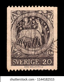 SWEDEN - CIRCA 1970: stamp printed in Sweden, shows pictures depict the legend of the martyr St Stephan, ceiling painting, Dadesjo Church, Smaland in Sweden, circa 1970