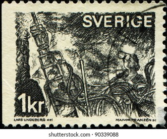 SWEDEN - CIRCA 1970: A stamp printed in Sweden shows Miners at coal face, circa 1970