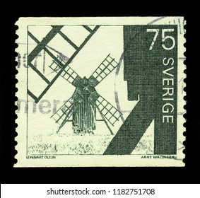 SWEDEN - CIRCA 1971: a stamp printed in the Sweden shows windmills on Oland, second largest swedish island, circa 1971
