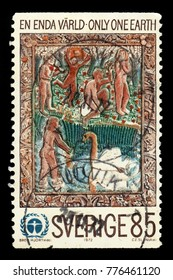 """SWEDEN - CIRCA 1972: stamp printed in Sweden, shows wooden relief """"Varen"""" by Bror Hjorth, UN Conference on the Human Environment, circa 1972"""