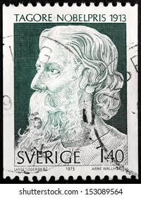 SWEDEN - CIRCA 1973: a stamp printed by SWEDEN shows image portrait of Rabindranath Tagore, circa 1973.