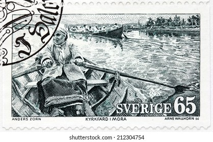SWEDEN - CIRCA 1973: A stamp printed by SWEDEN shows Rowing to church in Mora (1889) - engraving after a painting by famous Swedish artist Anders Leonard Zorn, circa 1973