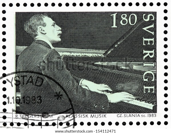 SWEDEN - CIRCA 1983: a stamp printed by Sweden shows Sweden's greatest composer, conductor and pianist Wilhelm Stenhammar. Engraving after expressive portrait by Robert Thegerstrom, circa 1983.
