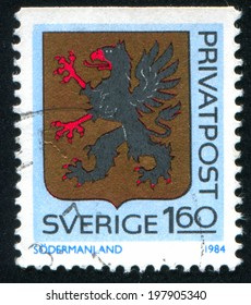 SWEDEN - CIRCA 1984: stamp printed by Sweden, shows Sodermanland Arms, circa 1984