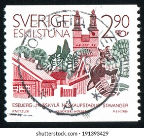 SWEDEN - CIRCA 1986: stamp printed by Sweden, shows Eskilstuna, circa 1986