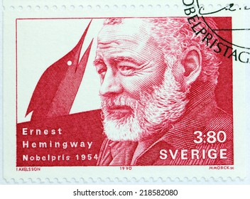 SWEDEN - CIRCA 1990: A stamp printed by SWEDEN shows image portrait of famous American author and journalist Ernest Hemingway, Nobel Laureate in Literature, circa 1990