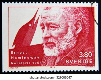 SWEDEN - CIRCA 1990: A stamp printed in the Sweden shows Ernest Hemingway, Nobel Prize for Literature in 1954, circa 1990