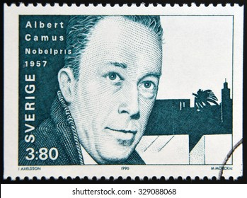 SWEDEN - CIRCA 1990: A stamp printed in the Sweden shows Albert Camus, Nobel Prize for Literature in 1957, 1957, circa 1990