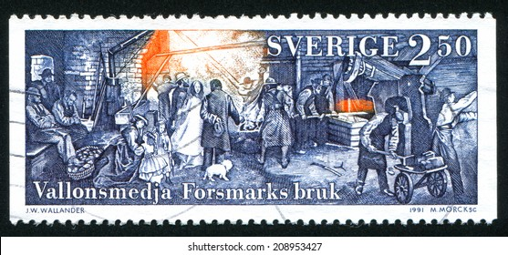 SWEDEN - CIRCA 1991: stamp printed by Sweden, shows Forsmark Mill, circa 1991