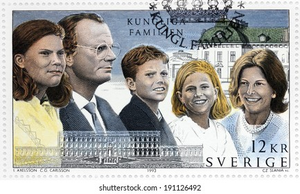 SWEDEN - CIRCA 1993: A stamp printed by SWEDEN shows image portraits of Crown Princess Victoria, King Carl XVI Gustaf of Sweden, Prince Carl Philip, Princess Madeleine and Queen Silvia, circa 1993