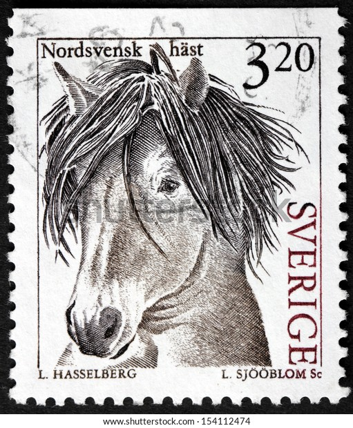 SWEDEN - CIRCA 1994: a stamp printed by Sweden shows image of North Swedish Horse - a small heavy horse originating in Sweden, circa 1994.