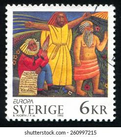 SWEDEN - CIRCA 1995: stamp printed by Sweden, shows Walt Whitman Christ Socrates, circa 1995
