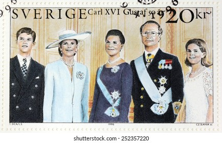 SWEDEN - CIRCA 1996: A stamp printed by SWEDEN shows portraits of Prince Carl Philip, Queen Silvia, Crown Princess Victoria, King Carl XVI Gustaf of Sweden and Princess Madeleine, circa 1996