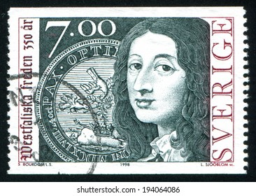 SWEDEN - CIRCA 1997: stamp printed by Sweden, shows Queen Christina, Medallion Commemorating the Peace of Westphalia, circa 1997