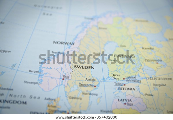 Sweden Close On Map Focus On Stock Photo (Edit Now) 357402080