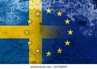 Sweden and European Union Flag with a vintage and old look
