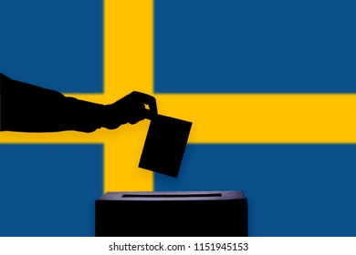 Sweden flag with ballot box during elections / referendum