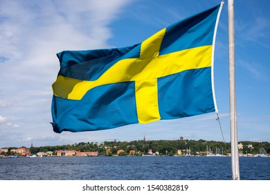 A sweden flag from The Baltic sea, Stockholm, Sweden
