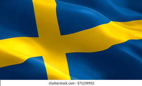 Sweden flag. Waving colorful Sweden flag
