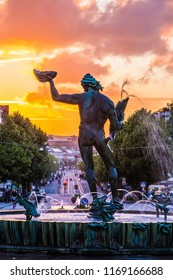 Sweden- June 19 2018: The famous statue Poseidon in Gothenburg, Sweden