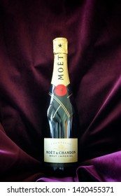 Malmö, Sweden - June 9, 2019: Moet and Chandon Brut Imperial champagne on a purple background