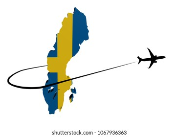 Sweden map flag with plane silhouette and swoosh 3d illustration
