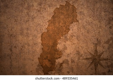 sweden map on a old vintage crack paper background